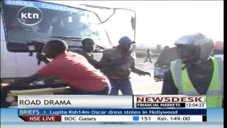 Drama in Kitengela after woman tried stopping moving lorry over pay row