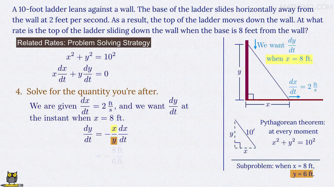 how fast is the ladder's top sliding (related rates problem