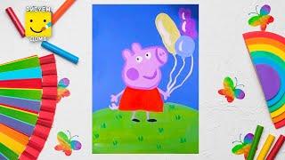 Как нарисовать Свинку Пеппу - урок рисования для детей 4-12 лет. Дети рисуют Свинку Пеппу поэтапно