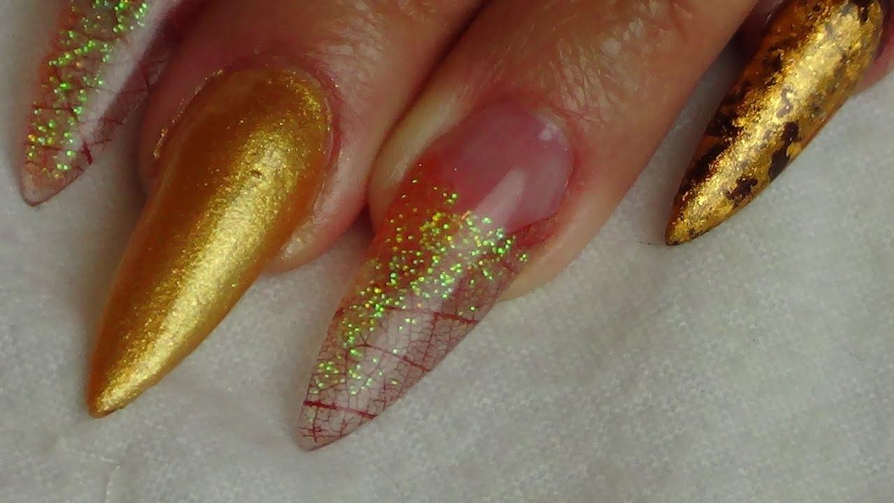Autumn/Fall Stiletto Acrylic Nails - YouTube