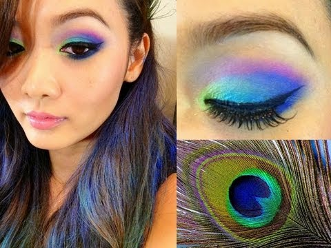 peacock makeup tutorial halloween - Eyeshadow For Halloween