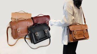 Женская кожанная сумка в винтажном стиле на плечо через плечо для девушек студенток