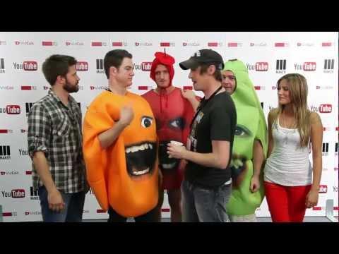 Annoying Orange backstage at Vidcon 2012