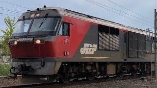 朝の函館本線・茶志内駅で特急オホーツク1号がDF200貨物を追い抜く LOVE HOKKAIDO!