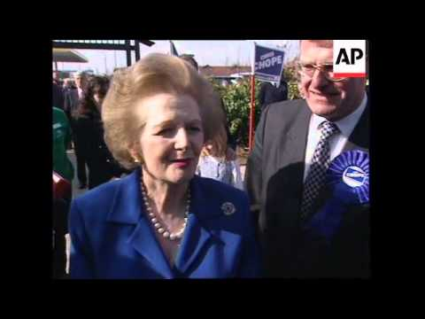 UK: DORSET: MARGARET THATCHER CAMPAIGNS FOR CONSERVATIVE PARTY