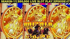 High Limit BUFFALO GOLD Slot Machine $15 Bet Bonus Won - Live Slot Play | SEASON-11 | EPISODE #7