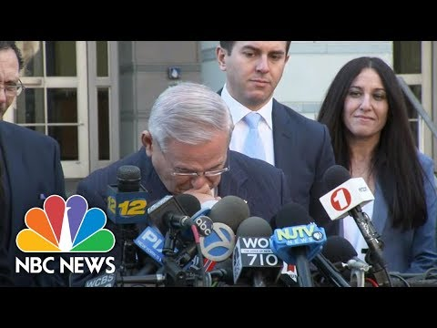 Senator Bob Menendez Briefly Breaks Down Following Mistrial | NBC News
