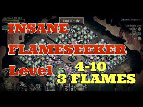 Castle Clash FlameSeeker Level 4-10! 3 Flaming It! Insane Dungeons!