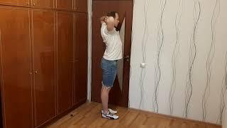 ЛФК упражнение сведение локтей назад стоя