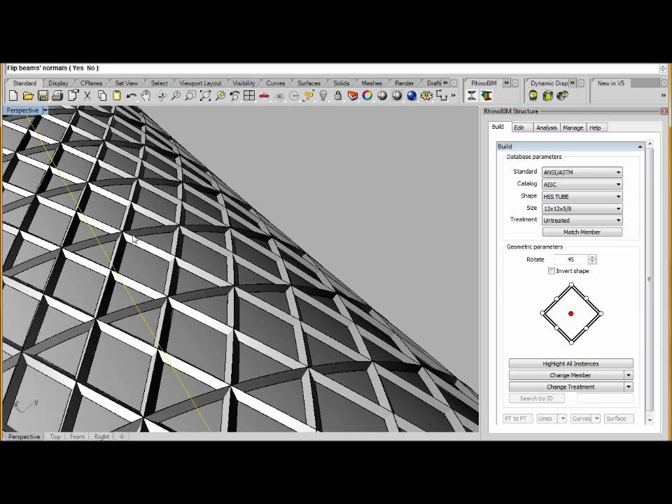 Rhinobim Structure Sweep Profile On Diagrid Youtube