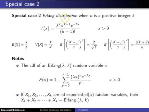 Gamma distribution special cases