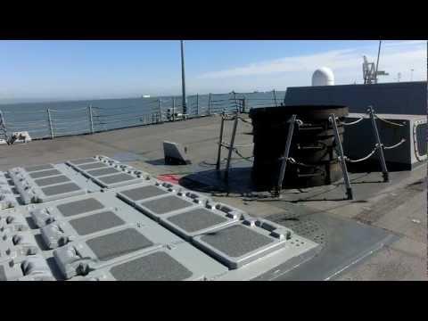 Phalanx Radar-guided 20 mm Gatling gun, by General Dynamics of USS  PREBLE Guided Missile Destroyer