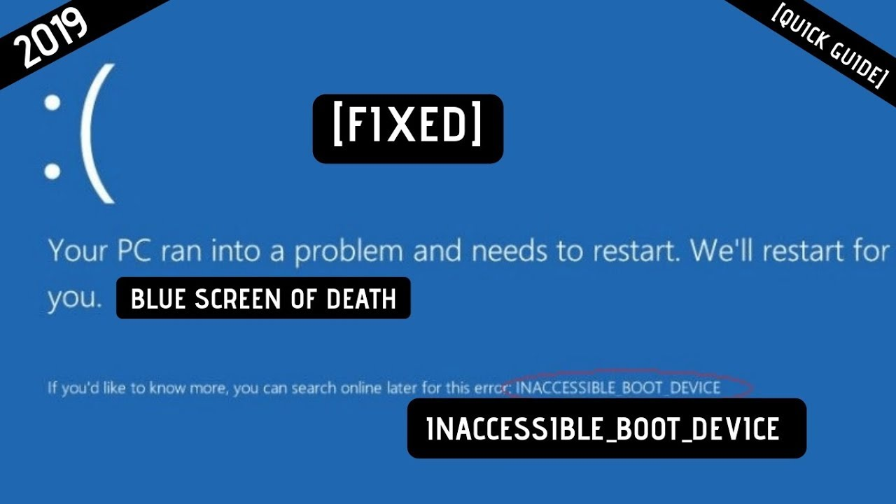 Stop code inaccessible boot device windows 10 fix | How to fix