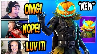 "STREAMERS REACT TO *NEW* ""HOLLOWHEAD"" PUMPKIN SKIN! + CARVER PICKAXE! Fortnite BR"