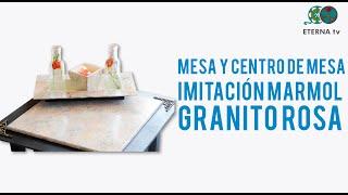 Mesa y centro de mesa imitación marmol granito rosa   Lidia Gonzalez Varela en Manos a la Obra