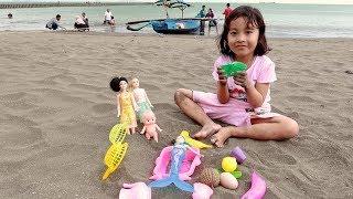Permainan Anak Perempuan ❤ Belajar dan bermain boneka berbi ❤ Main masak masakan di pantai
