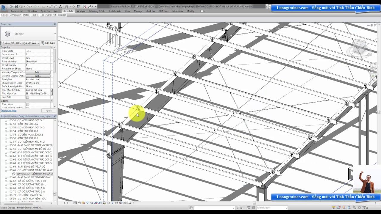 Bài 11 – Cách đọc bản vẽ mặt bằng bố trí xà gồ mái nhà công nghiệp