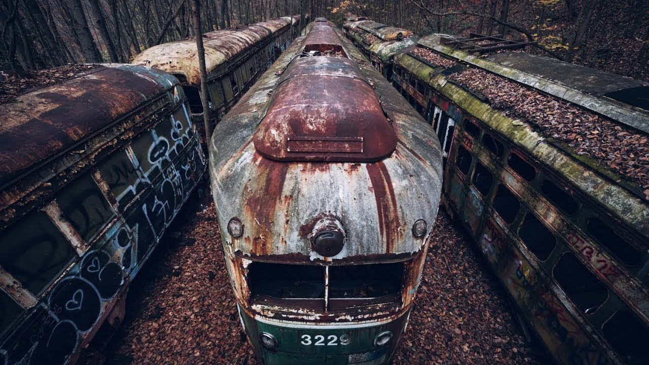 Lost Trains - Abandoned Train Trolley Graveyard in Woods ...