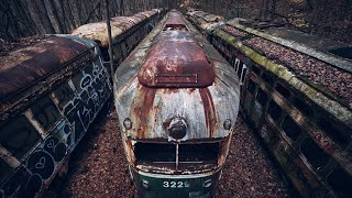 Lost Trains - Abandoned Train Trolley Graveyard in Woods