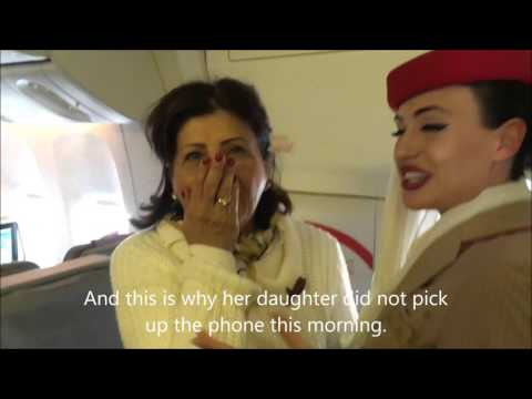 Thumbnail: Emirates cabin crew surprises her mother on board