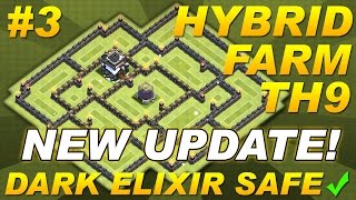 NEW UPDATE Town Hall 9 (TH9) Hybrid Farming Base Dark Elixir & Replays -Clash of Clans CoC Setup #3