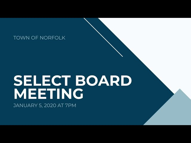 Norfolk Select Board Meeting - January 5, 2021