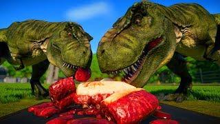 2 T Rex vs 2 Stegoceratops, 2 Triceratops, 2 Pentaceratops - Dinosa...