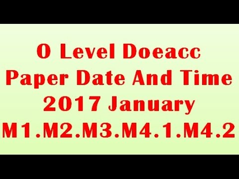 O Level Doeacc/Nielit Exam Paper Date And Timing 2017 January  (M1,M2,M3,M4 1,M4 2)