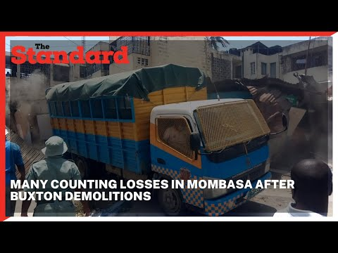Mombasa county government askaris demolished structures at Buxton estate