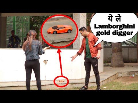 Gold digger prank with lamborghini (gone wrong)😫