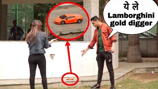 Gold digger prank with lamborghini (gone wrong)😫