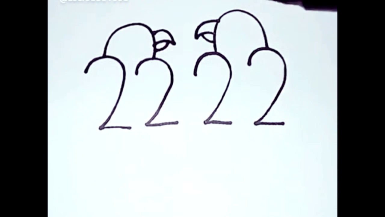 Easy Drawing Love Birds By 2222 Youtube