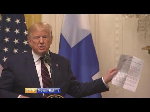 President Trump slams impeachment investigation while hosting president of Finland - EWTN News Night