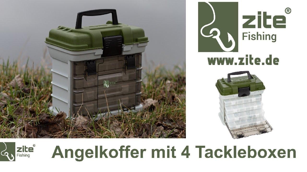 Zite Fishing Angelkoffer mit 4 Tackleboxen f/ür Angelzubeh/ör Ger/ätekoffer /& Angelkasten mit Boxen f/ür K/öder /& mehr