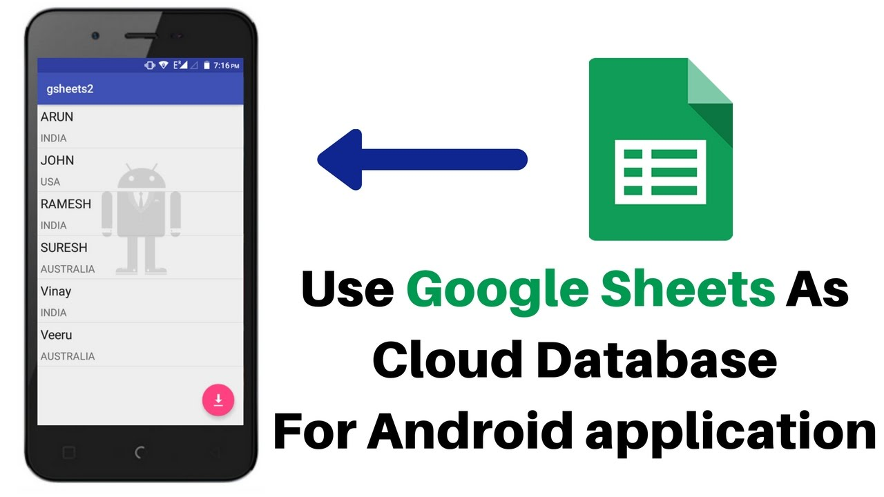 Using Google Spread Sheet AS DataBase for Android
