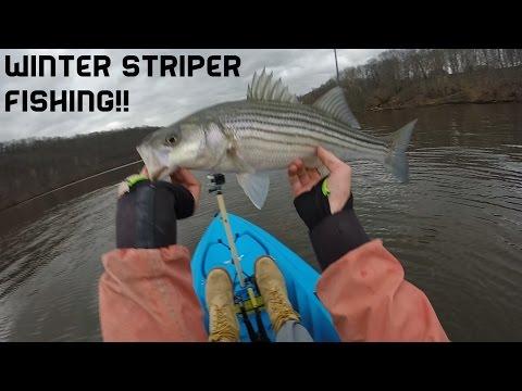 Housatonic River Connecticut Winter Striped Bass Kayak Fishing 2/25/16