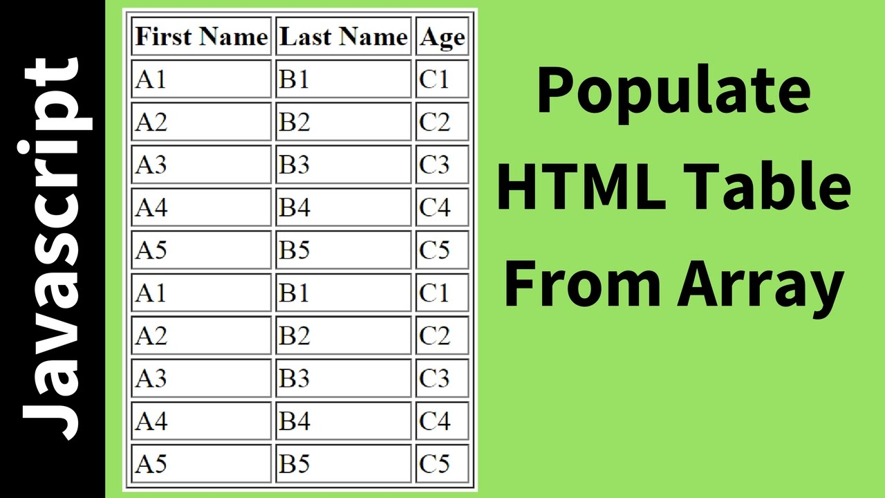 How to populate html table from array using javascript with source code youtube - Html code to create a table ...