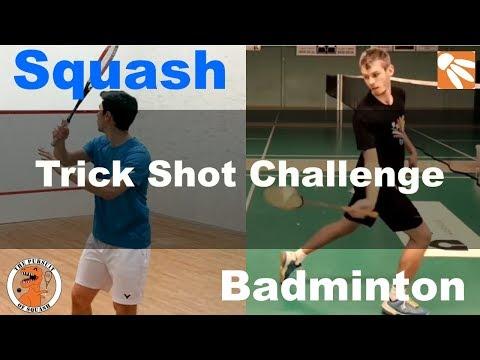 Squash Player Attempts Top 10 Badminton Trick Shots