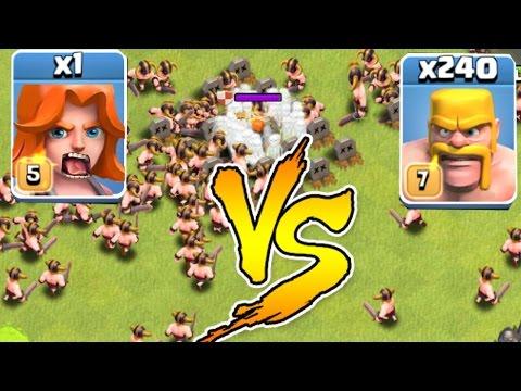 Clash Of Clans - 240 MEN Vs. 1 VALKYRIE!!! Glitch?!? (Troll Raids)