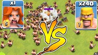 Repeat youtube video Clash Of Clans - 240 MEN Vs. 1 VALKYRIE!!! Glitch?!? (Troll Raids)