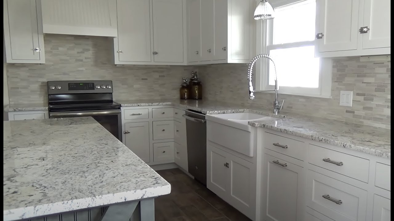 Custom Farmhouse Kitchen With White Ice & Normandy Granite ... on Farmhouse Granite Countertops  id=56514