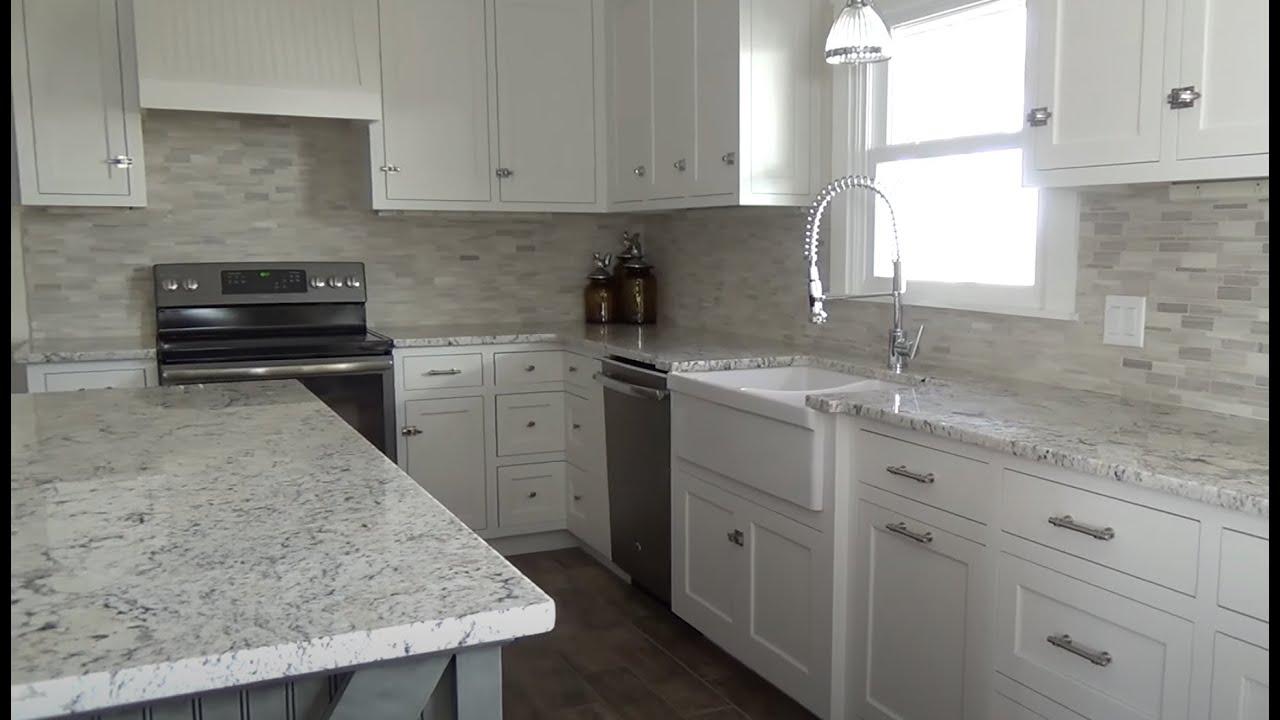 Custom Farmhouse Kitchen With White Ice & Normandy Granite ... on Farmhouse Granite Countertops  id=56514