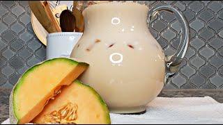 Fresh Cantaloupe Milk Drink   Easy Cantaloupe Milk Recipe
