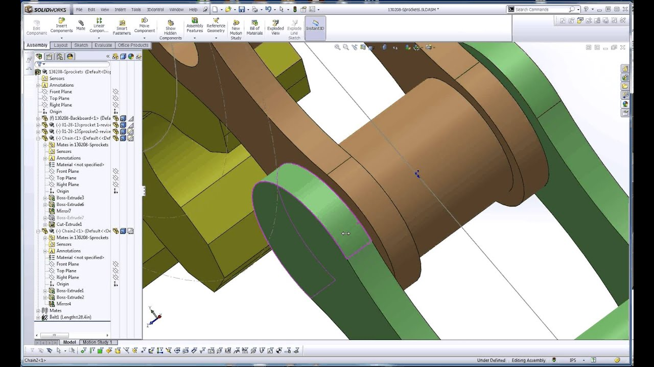 SolidWorks, Chain Segment Motion with Sprockets in an Assembly with the  Path Mate Part 2