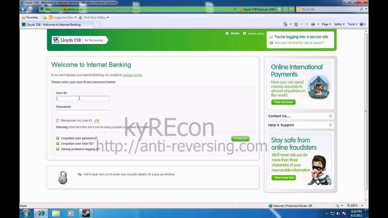 Lloyds TSB Online Banking Phishing Attempt - YouTube