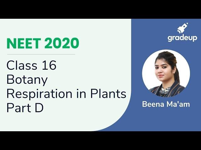 NEET 2020 | Respiration in Plants - Part D | Botany | Class 16
