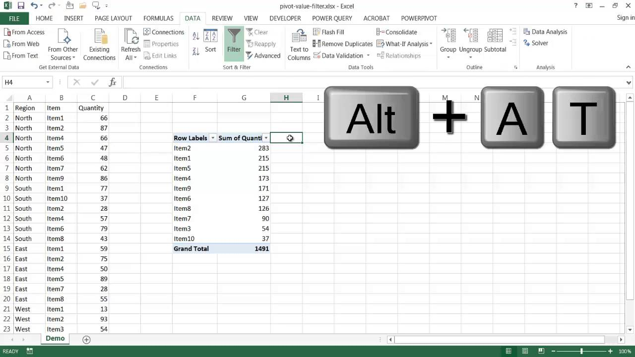 Turn On Filtering For The Values Area Of A Pivot Table