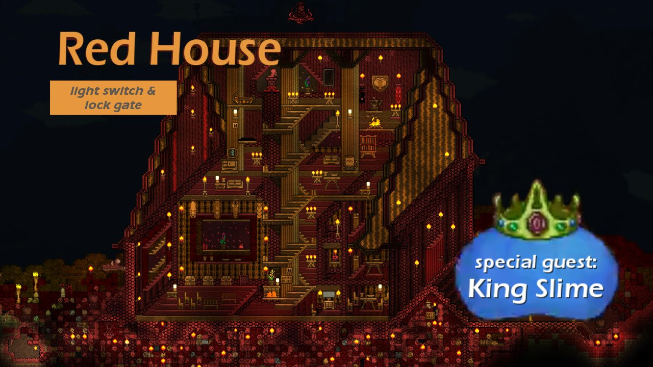 red house terraria 3d cabinet projection with lockgate lightswitch and king slime youtube - Red House 2016