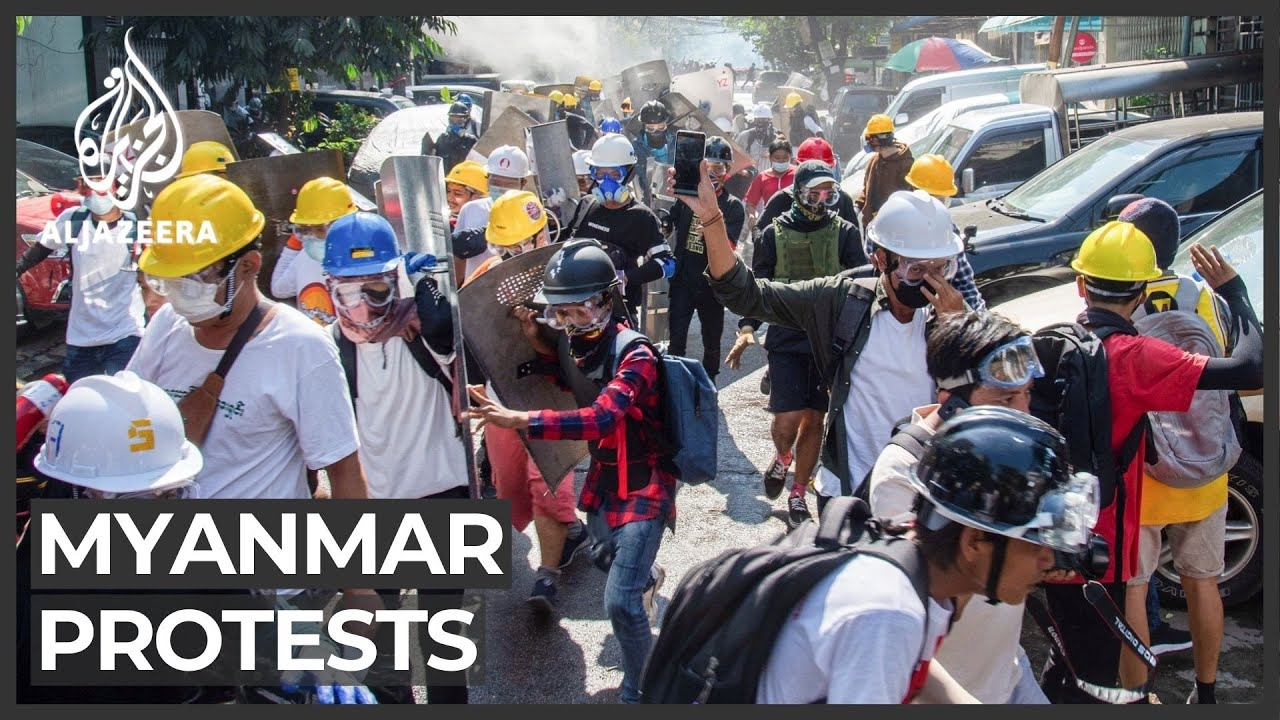 'Barricaded' Myanmar protesters leave after tense standoff - Al Jazeera English