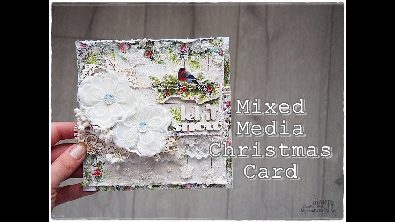 Mixed Media Christmas Card Tutorial Youtube